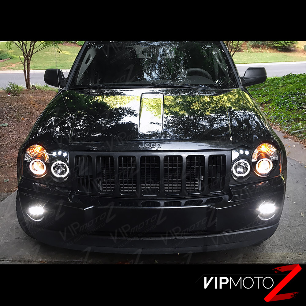 05 07 jeep grand cherokee wk euro clear fog lamps nighthawk black headlights drl ebay. Black Bedroom Furniture Sets. Home Design Ideas