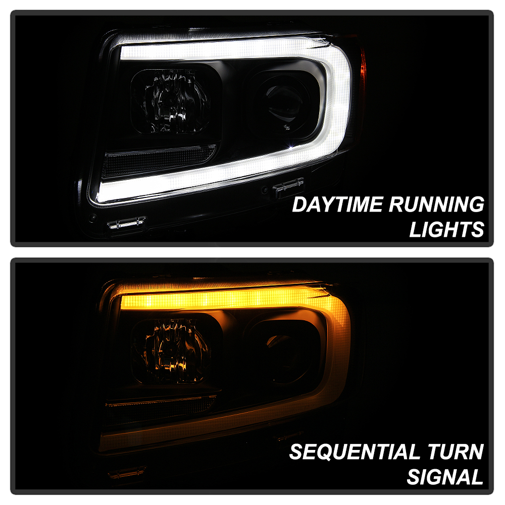 Schwarz Klar Projektor Scheinwerfer LED Switchback Für 11-13 Jeep Grand Cherokee