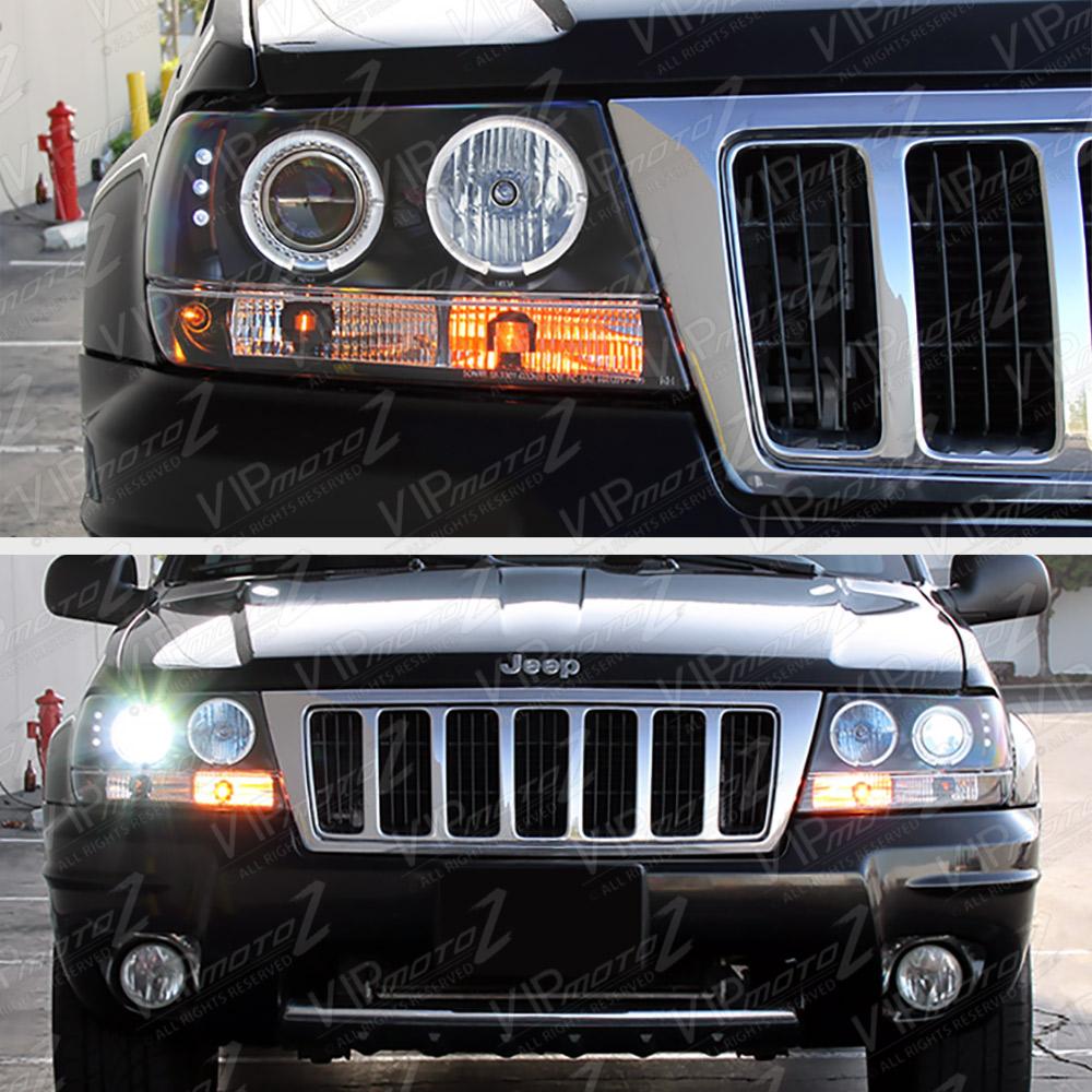 1999-2004 Jeep Grand Cherokee WJ WG Black LED Halo Angel