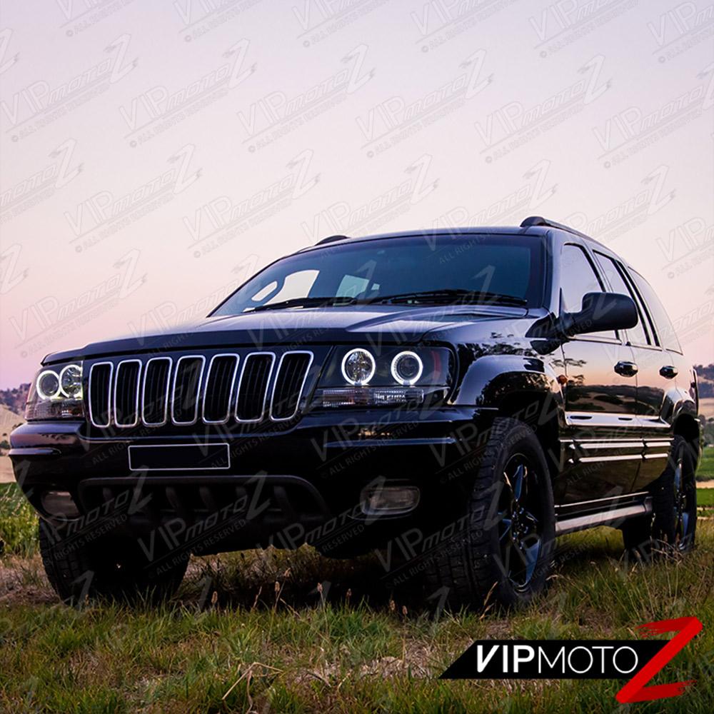 limited sinister black 1999 2004 jeep grand cherokee wj wg halo led headlights. Black Bedroom Furniture Sets. Home Design Ideas
