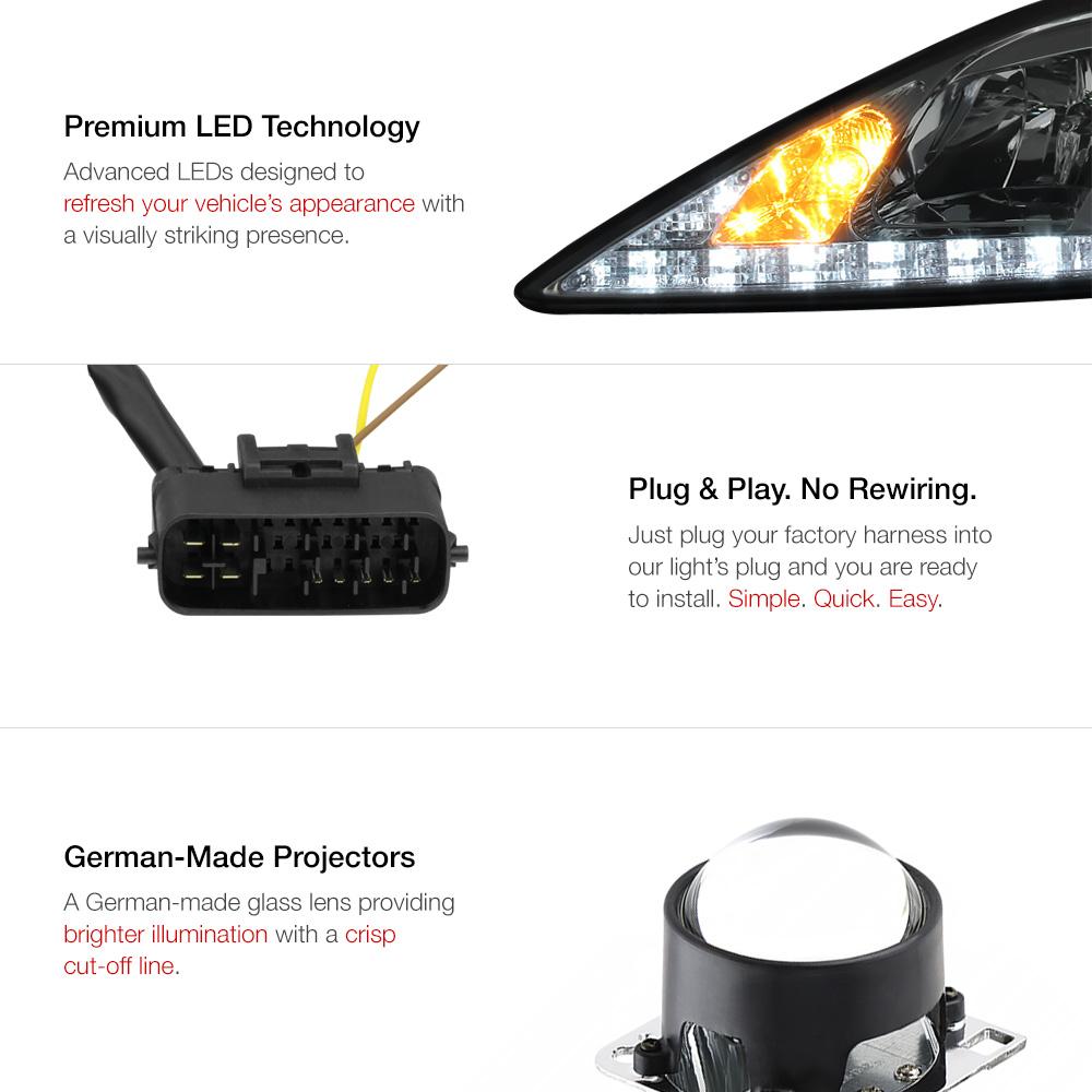 06 13 Lexus Is250 Is350 Smoke Drl Light Bar Projector