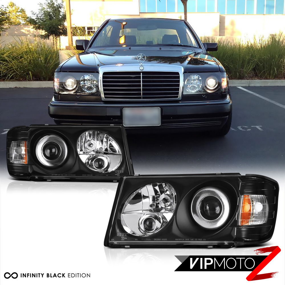86 93 w124 black projector headlight m benz e class 300e for Mercedes benz headlight bulb