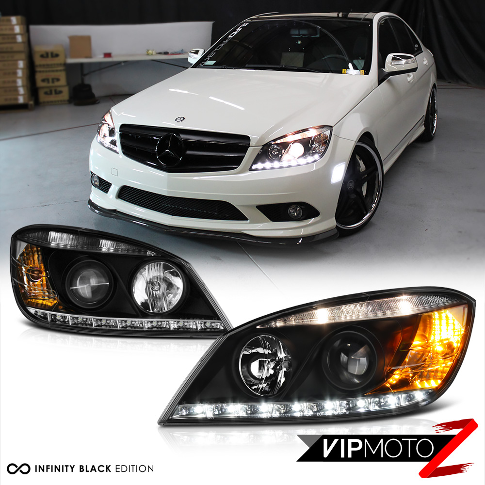 2008 2011 mercedes benz w204 c class black amg style led for Mercedes benz low beam bulb