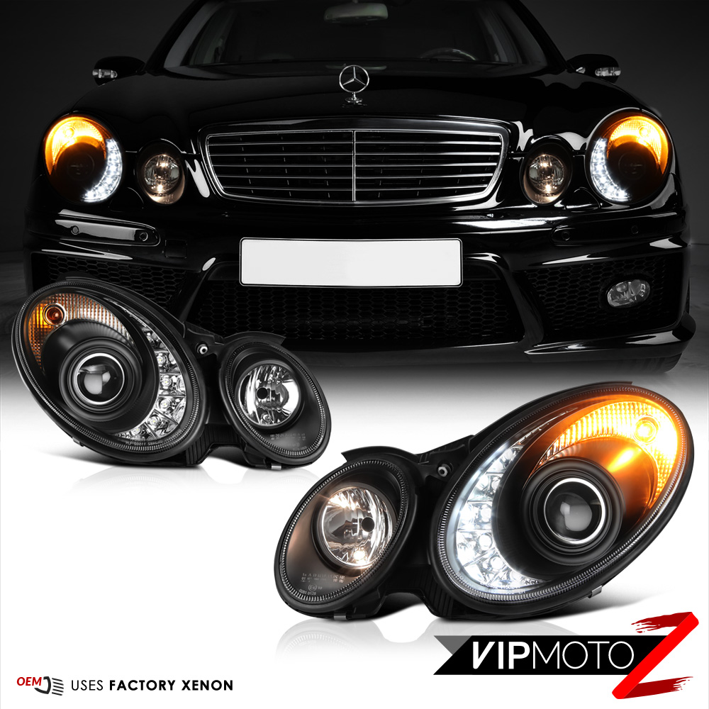 03 06 mercedes benz w211 nighthawk black led drl xenon. Black Bedroom Furniture Sets. Home Design Ideas
