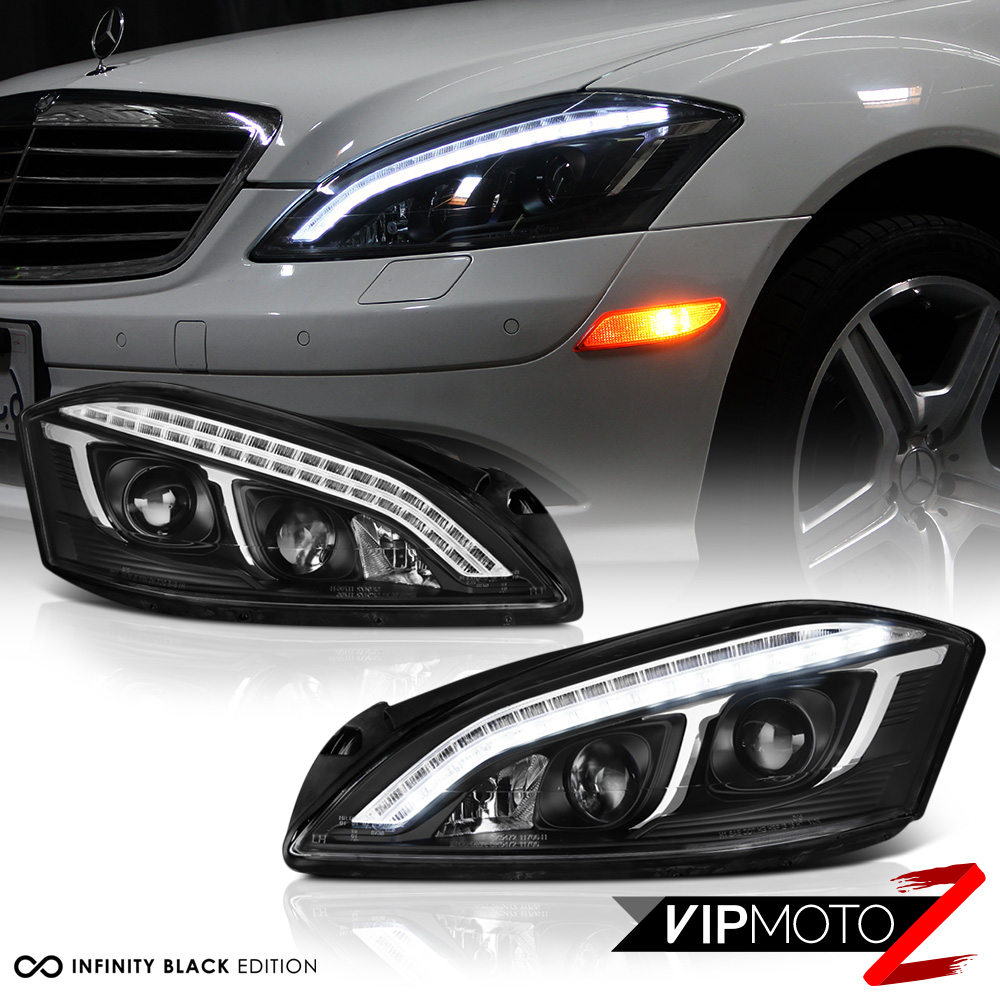 Black 2007 2013 Mercedes W221 S550 Led Drl Projector