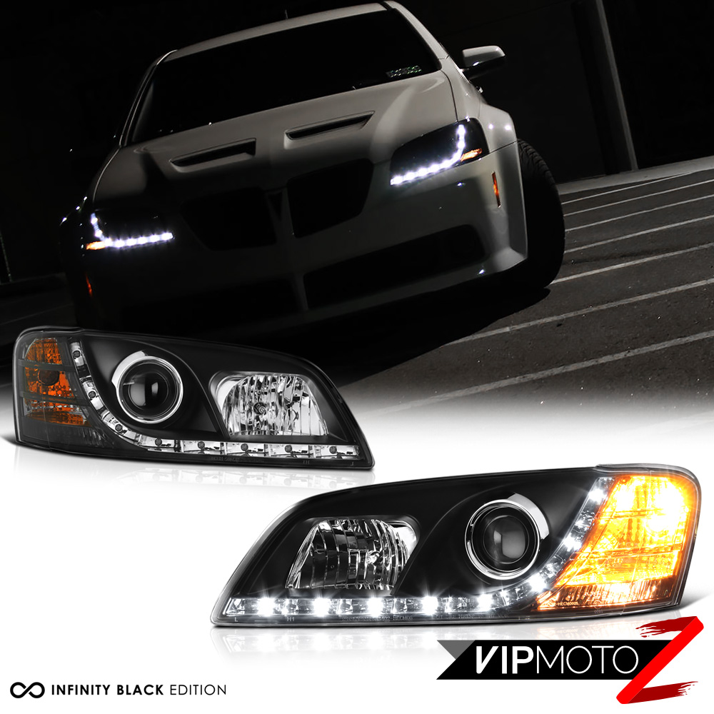2008 2010 pontiac g8 led drl strip black projector headlight head lamp pair ebay details about 2008 2010 pontiac g8 led drl strip black projector headlight head lamp pair