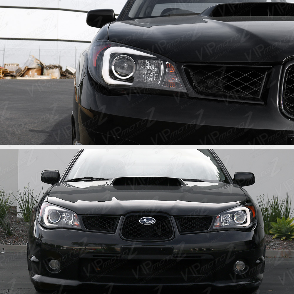 latest oled tube black headlights d2s factory xenon for 06 07 subaru wrx sti ebay. Black Bedroom Furniture Sets. Home Design Ideas