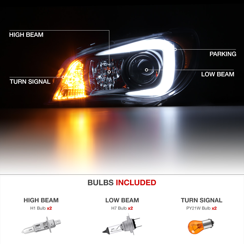 For 2006 2007 Subaru Hawkeye Wrx Quot Neon Tube Quot Projector Headlight Lamp Left Right Ebay