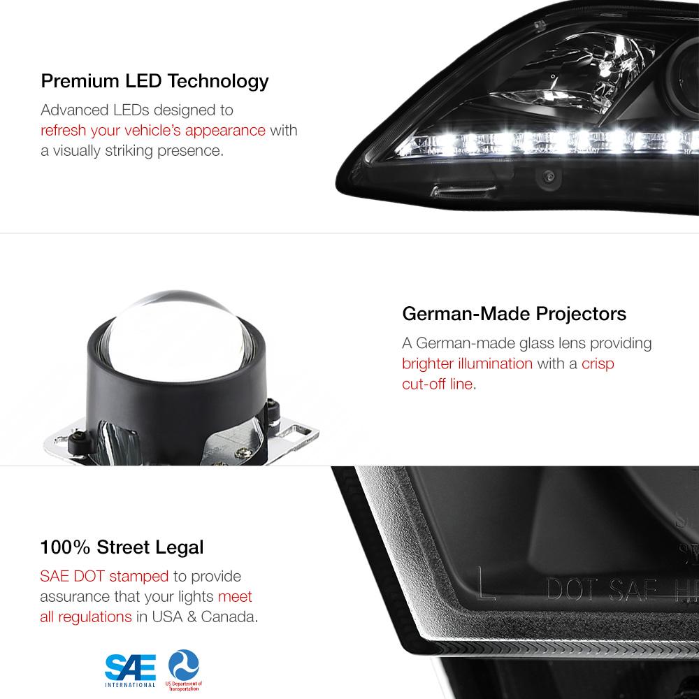 2007 2009 toyota camry newest led drl projector headlights headla. Black Bedroom Furniture Sets. Home Design Ideas