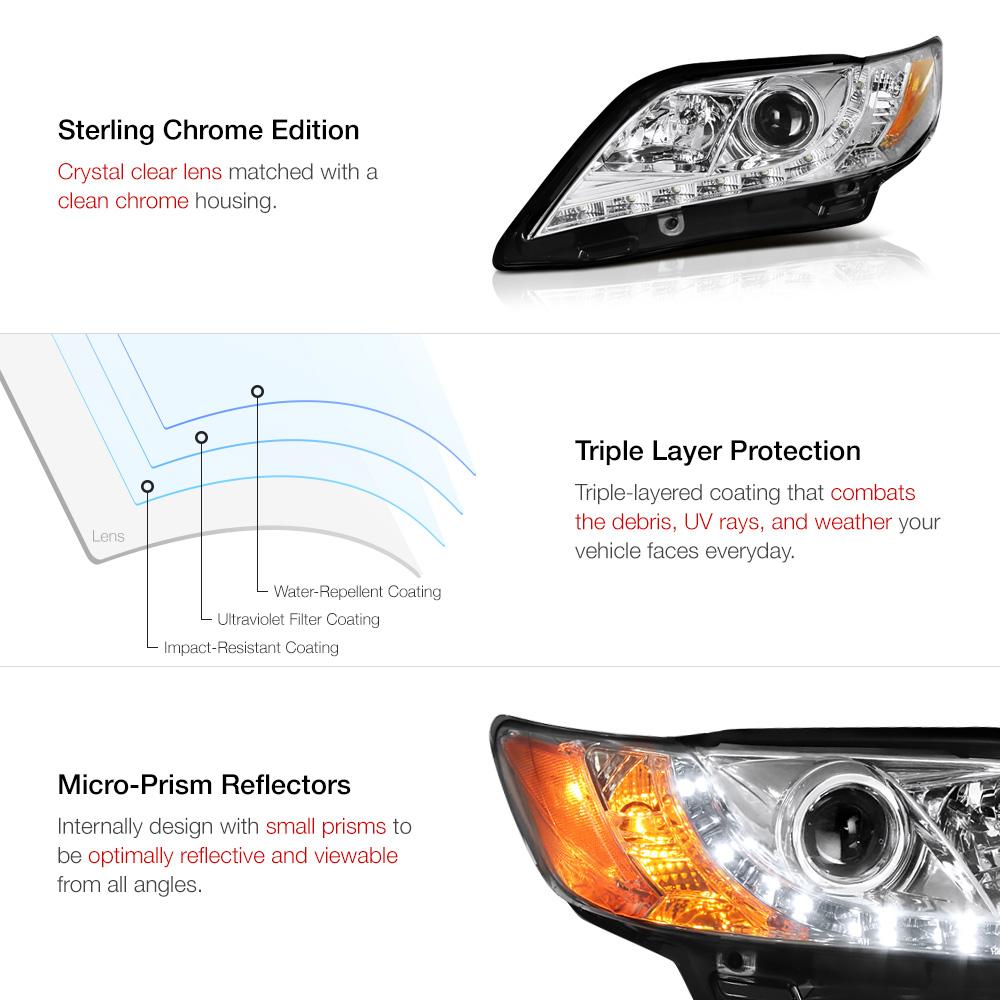 2007 2009 toyota camry euro angel eye halo chrome projector headlight lamp. Black Bedroom Furniture Sets. Home Design Ideas