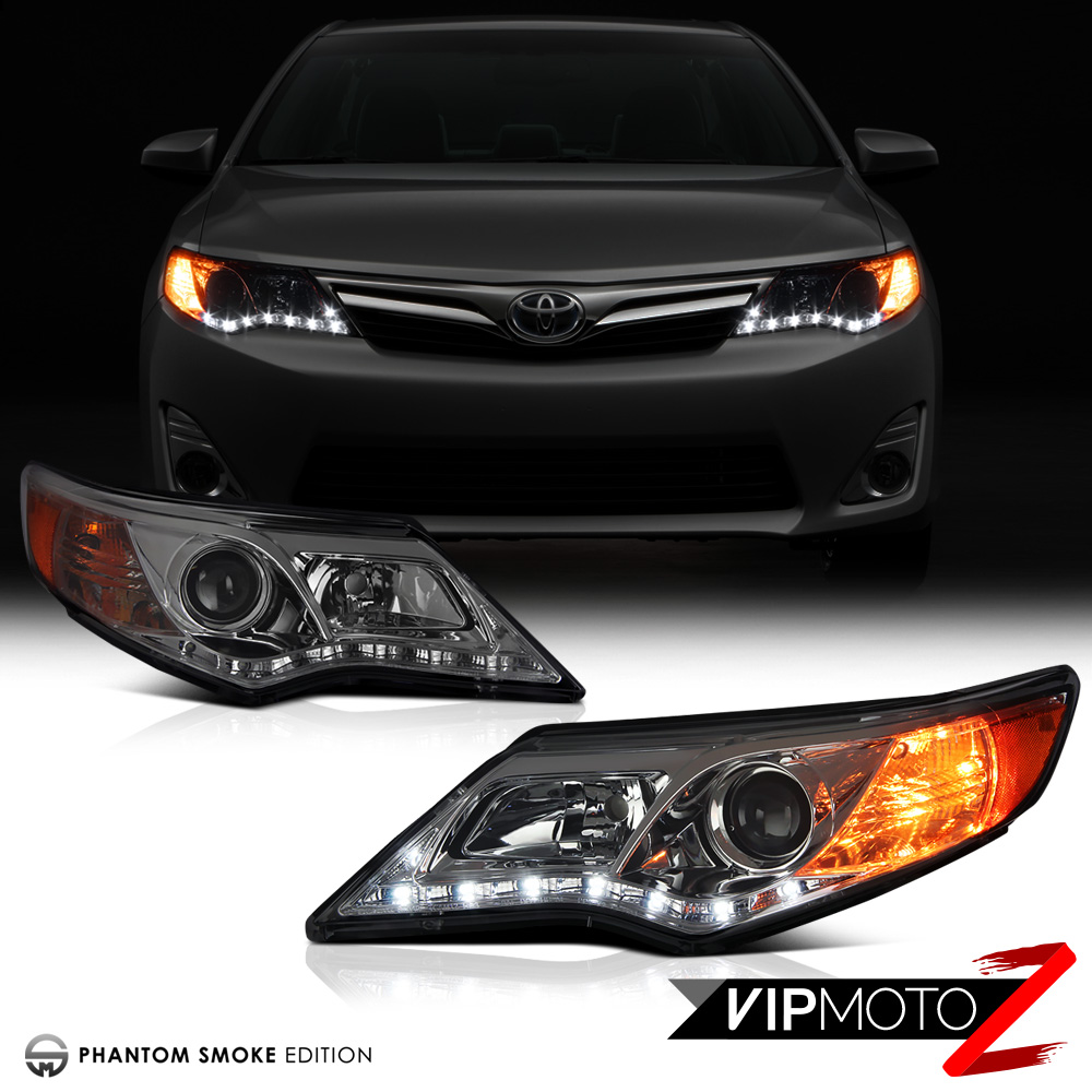 smoked lens 2012 2014 toyota camry front led drl projector headlights assembly ebay. Black Bedroom Furniture Sets. Home Design Ideas