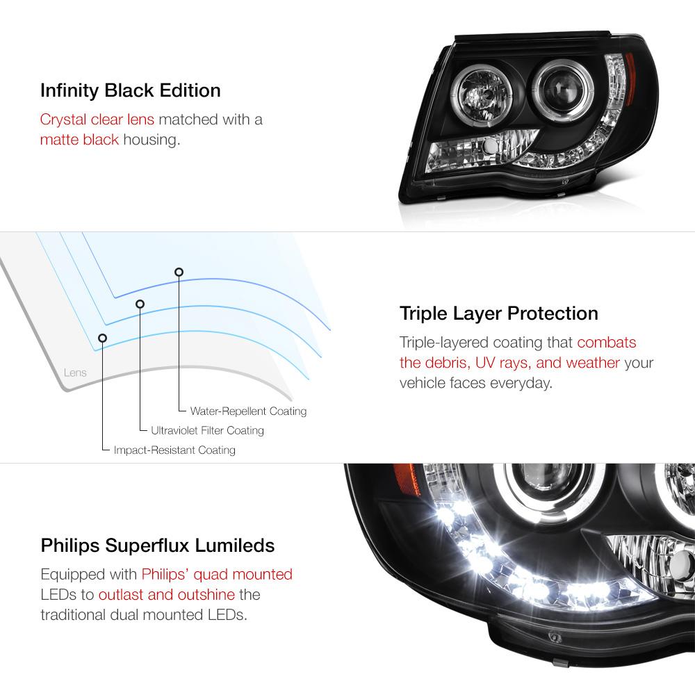 2005 2011 toyota tacoma prerunner black halo led. Black Bedroom Furniture Sets. Home Design Ideas