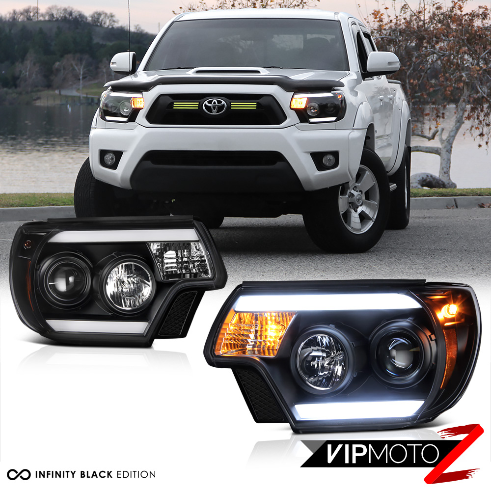 "2012-2015 Toyota Tacoma ""TRIBAL"" Black LED Headlight TRD"