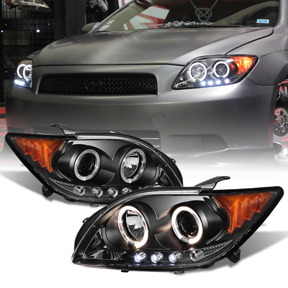 Scion Tc Headlights >> Details About For 05 07 Scion Tc Trd Style Black Halo Led Projector Headlight Lamp Assembly