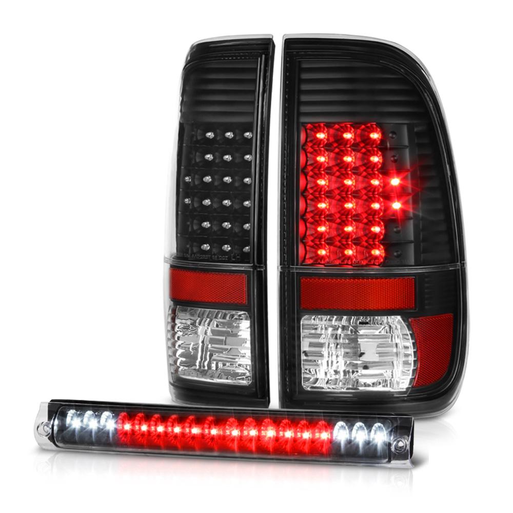 Ford F150 Lobo [Super Bright] Black LED Tail Lights Third