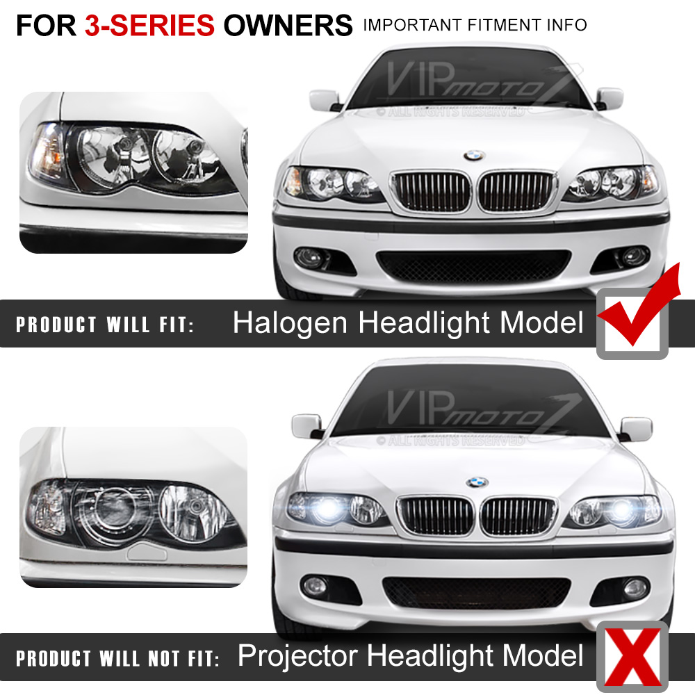 2002-2005 BMW E46 4DR Sedan Black Halo Projector Headlight