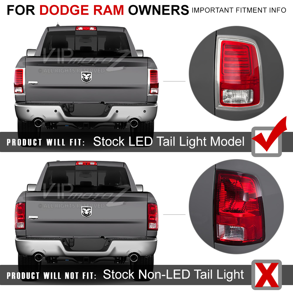 2013 2015 Dodge Ram 1500 2500 3500 Truck Red Led Rear Tail