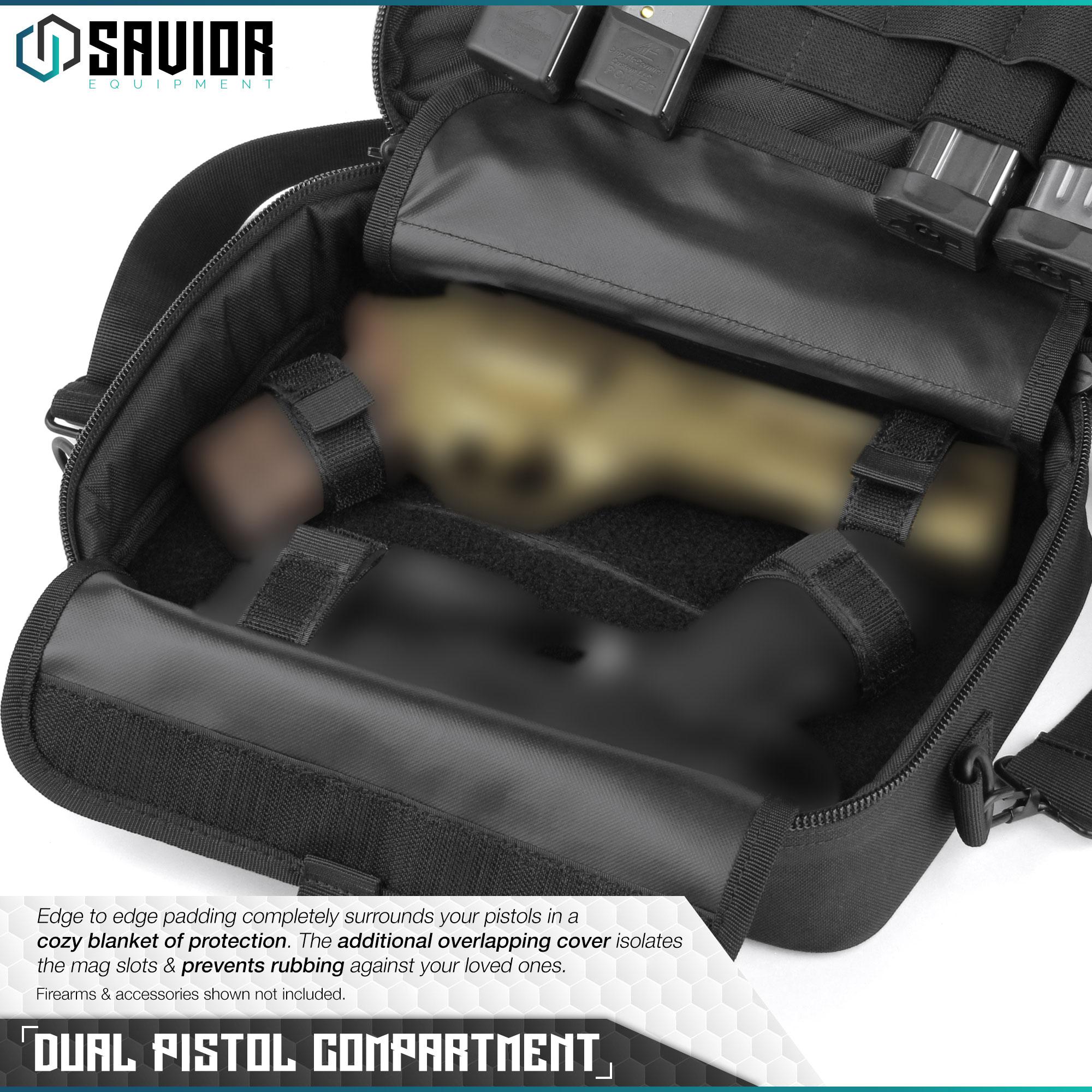 thumbnail 15 - 034-SAVIOR-034-Padded-Discreet-Double-Handgun-Bag-Pistol-Storage-Case-w-Mag-Pouch-Slot