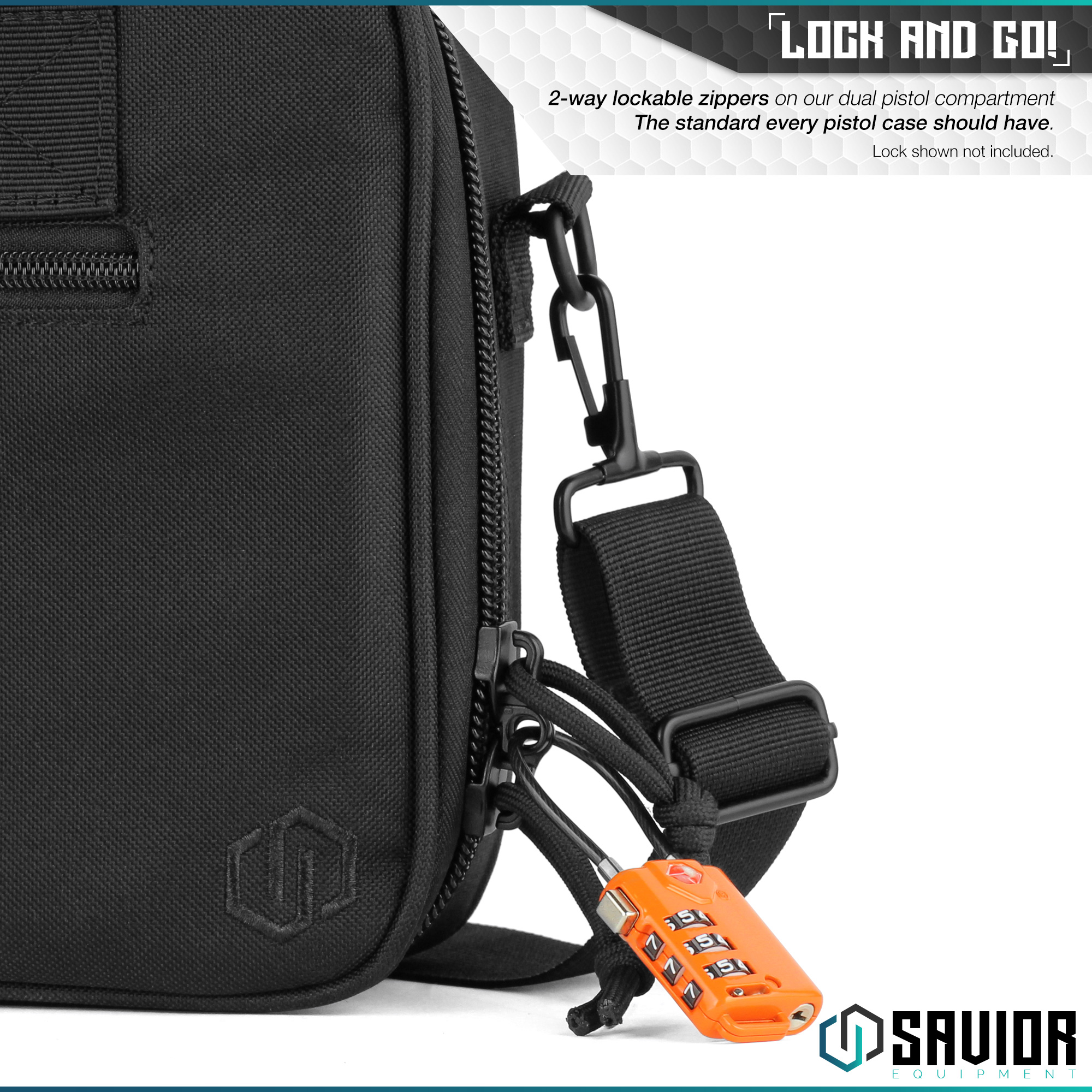 thumbnail 17 - 034-SAVIOR-034-Padded-Discreet-Double-Handgun-Bag-Pistol-Storage-Case-w-Mag-Pouch-Slot
