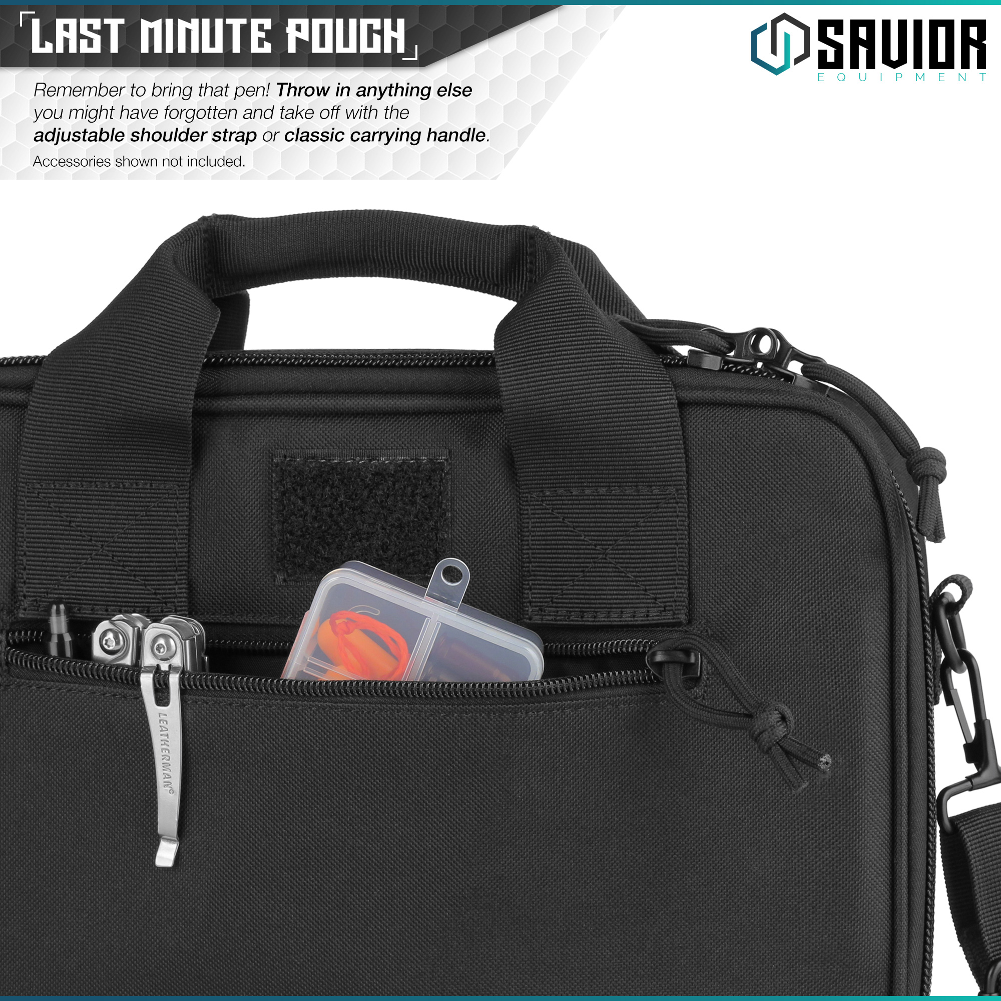 thumbnail 18 - 034-SAVIOR-034-Padded-Discreet-Double-Handgun-Bag-Pistol-Storage-Case-w-Mag-Pouch-Slot