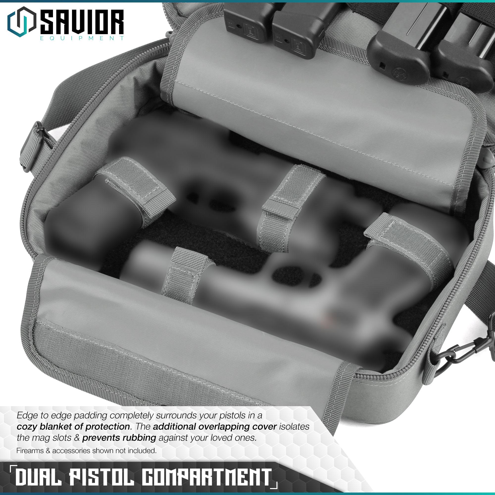 034-SAVIOR-034-Padded-Discreet-Double-Handgun-Bag-Pistol-Storage-Case-w-Mag-Pouch-Slot thumbnail 3