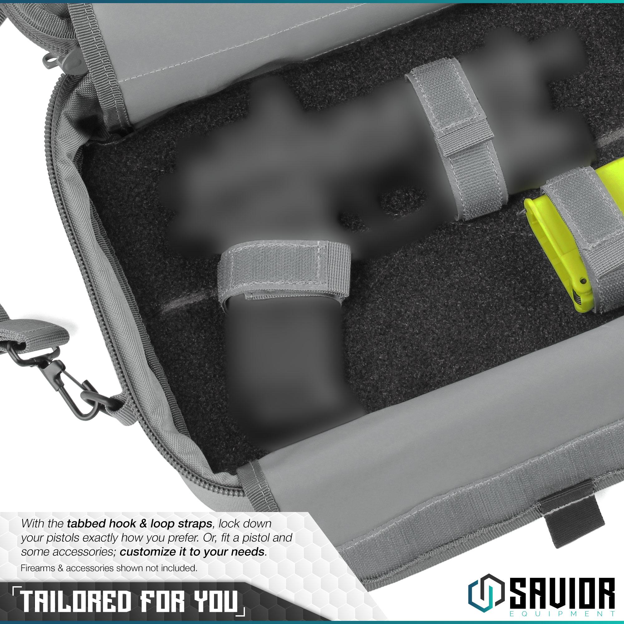 thumbnail 4 - 034-SAVIOR-034-Padded-Discreet-Double-Handgun-Bag-Pistol-Storage-Case-w-Mag-Pouch-Slot