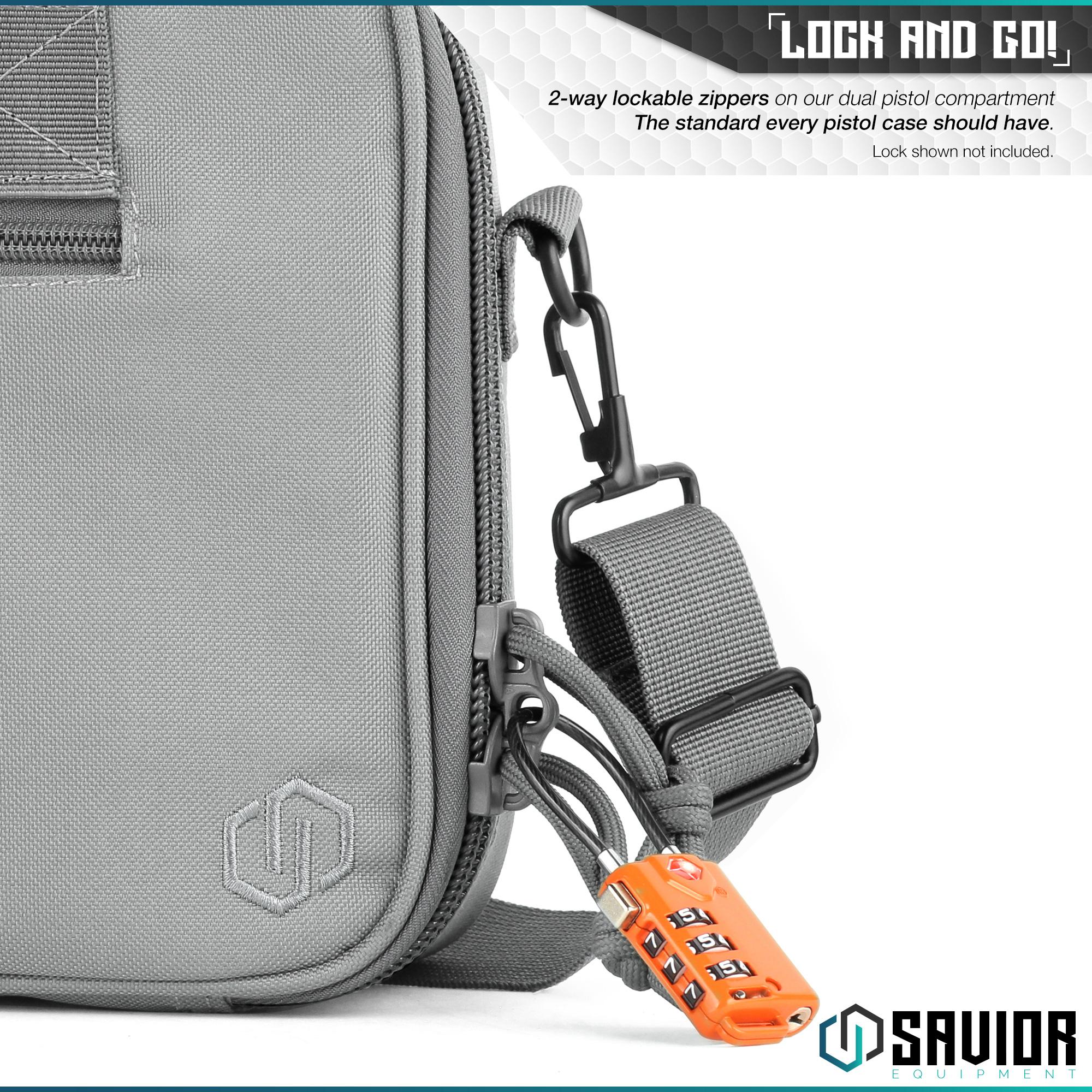 thumbnail 5 - 034-SAVIOR-034-Padded-Discreet-Double-Handgun-Bag-Pistol-Storage-Case-w-Mag-Pouch-Slot