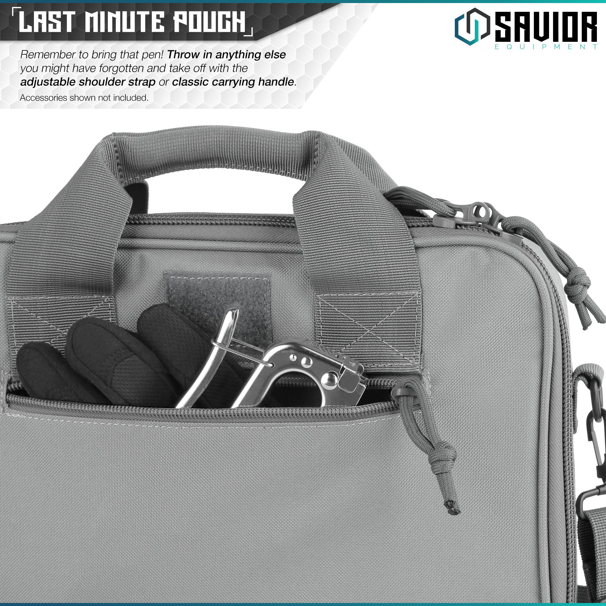 thumbnail 6 - 034-SAVIOR-034-Padded-Discreet-Double-Handgun-Bag-Pistol-Storage-Case-w-Mag-Pouch-Slot
