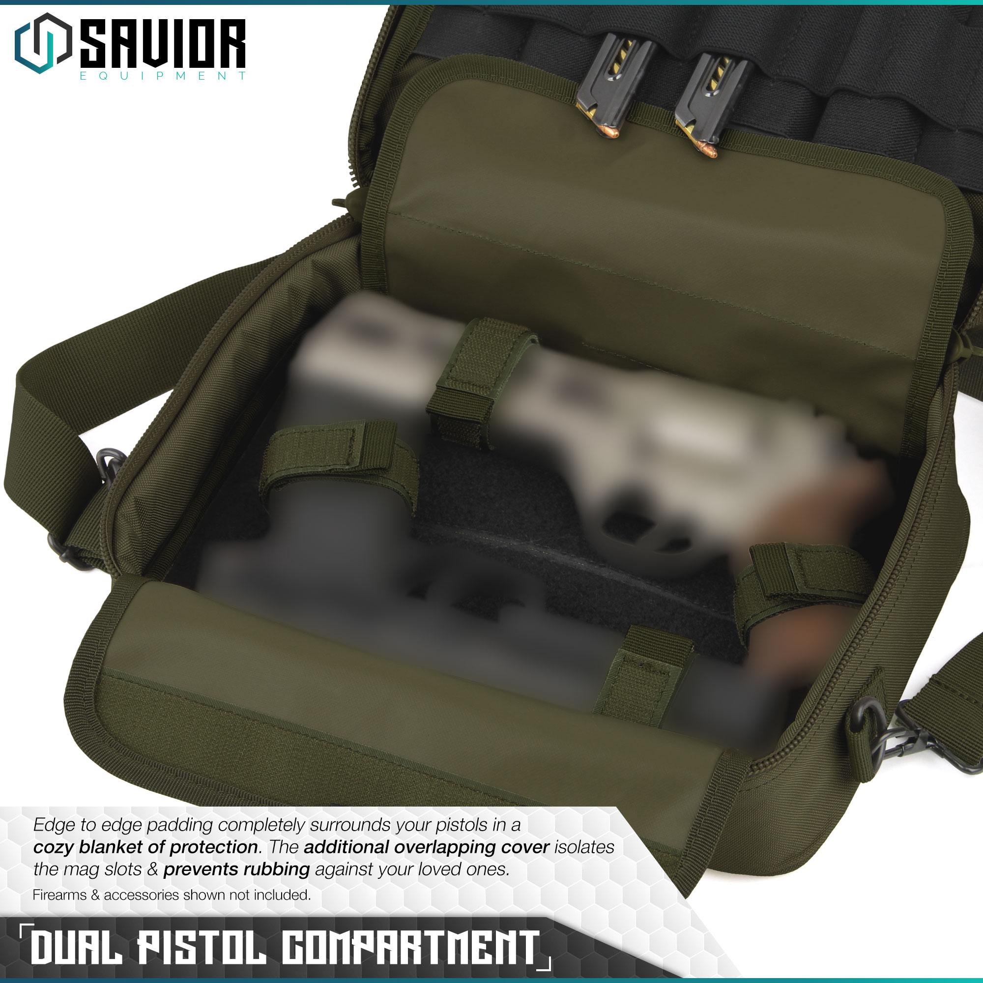 thumbnail 21 - 034-SAVIOR-034-Padded-Discreet-Double-Handgun-Bag-Pistol-Storage-Case-w-Mag-Pouch-Slot