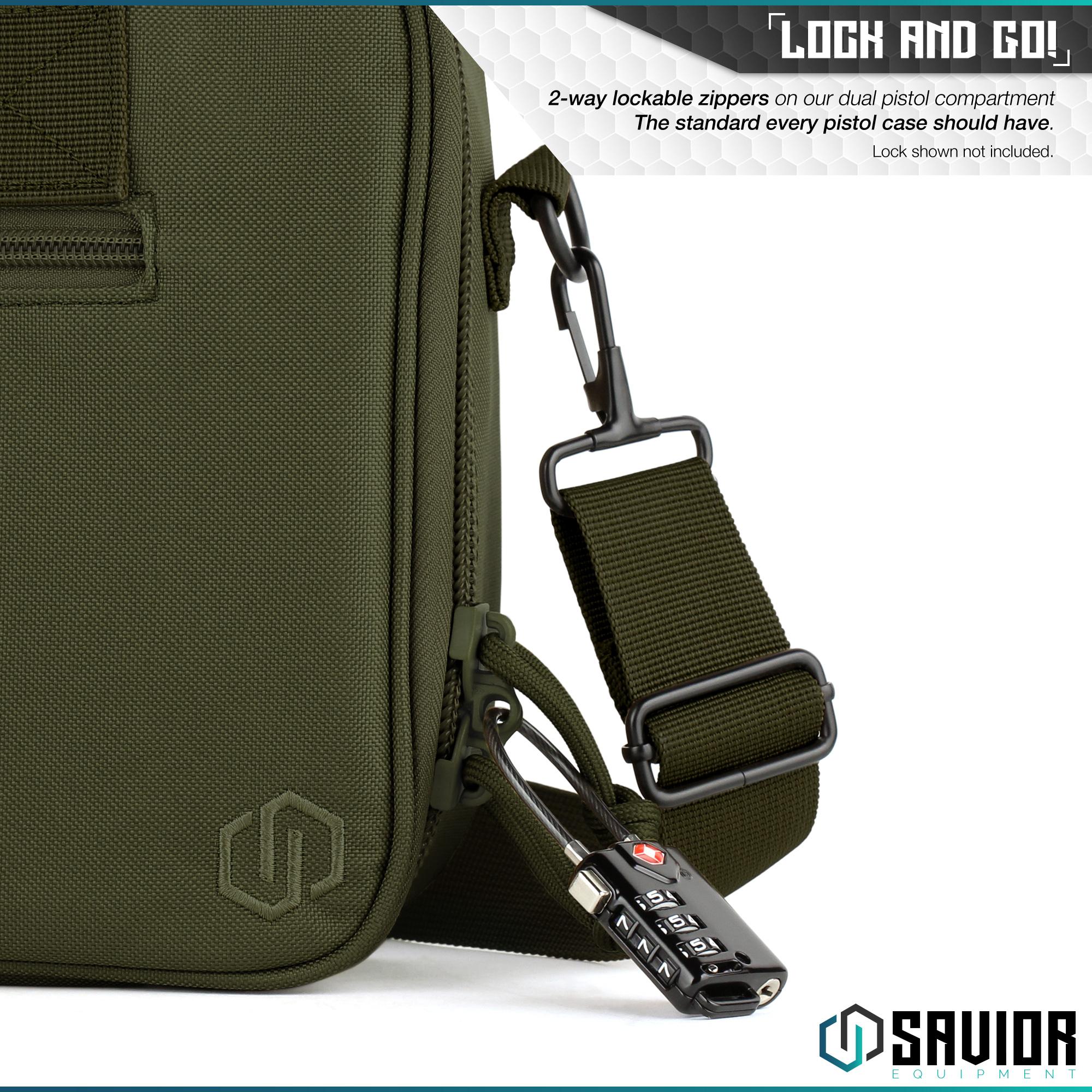thumbnail 23 - 034-SAVIOR-034-Padded-Discreet-Double-Handgun-Bag-Pistol-Storage-Case-w-Mag-Pouch-Slot