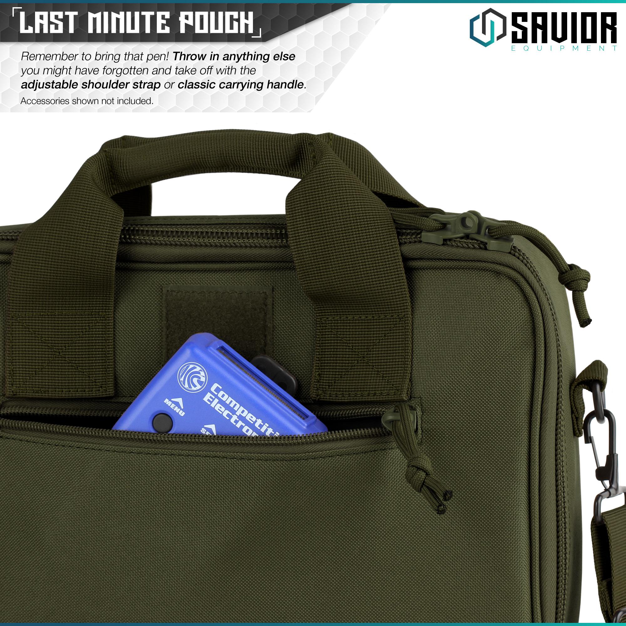 thumbnail 24 - 034-SAVIOR-034-Padded-Discreet-Double-Handgun-Bag-Pistol-Storage-Case-w-Mag-Pouch-Slot
