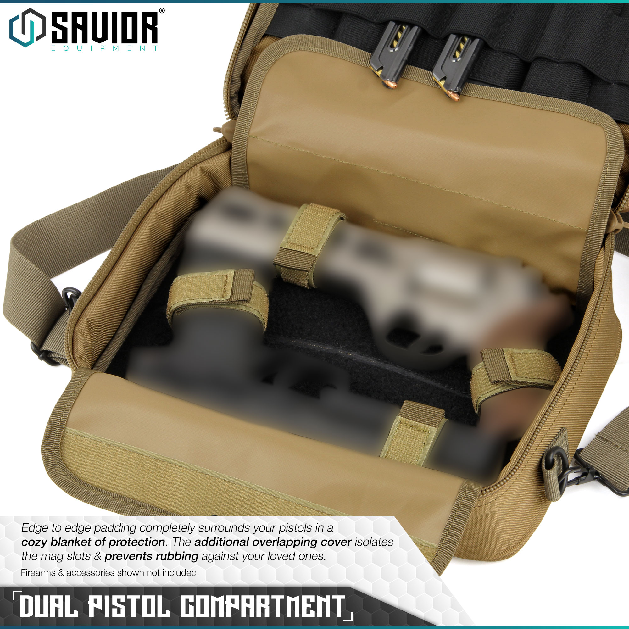 thumbnail 9 - 034-SAVIOR-034-Padded-Discreet-Double-Handgun-Bag-Pistol-Storage-Case-w-Mag-Pouch-Slot