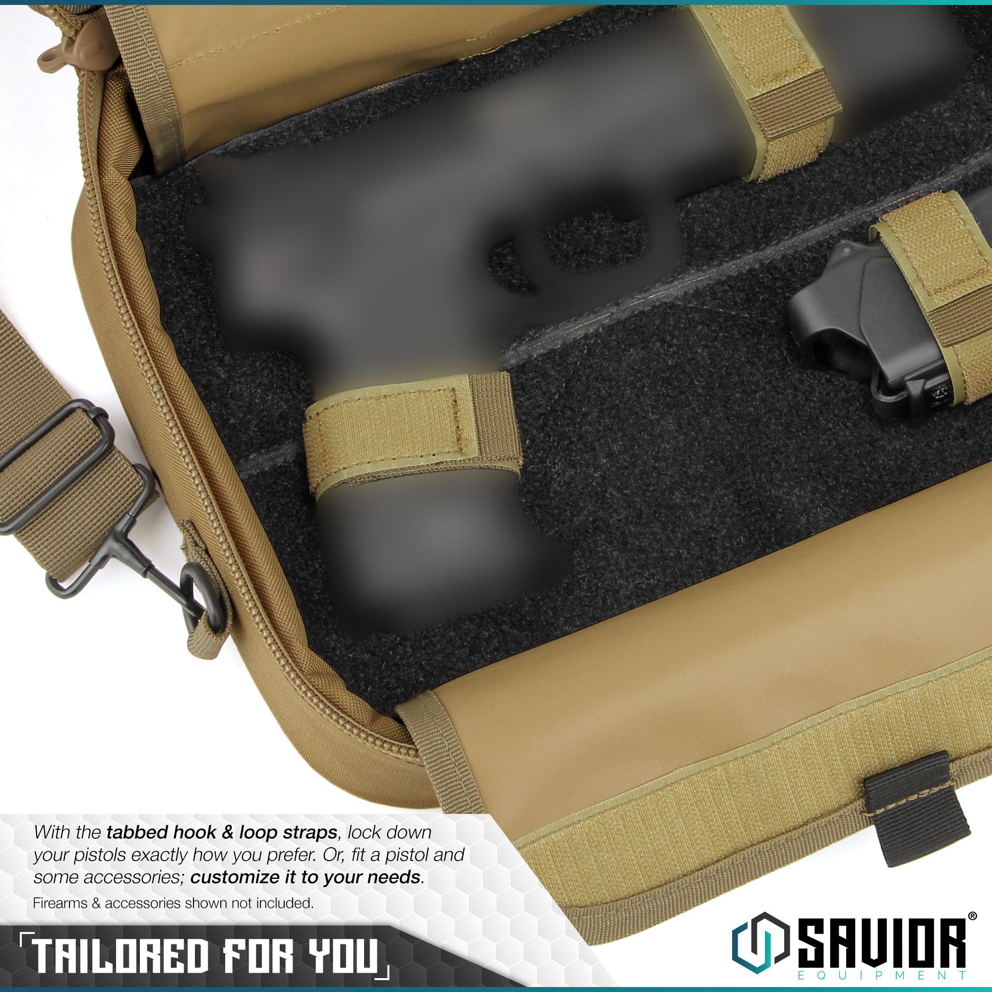 thumbnail 10 - 034-SAVIOR-034-Padded-Discreet-Double-Handgun-Bag-Pistol-Storage-Case-w-Mag-Pouch-Slot