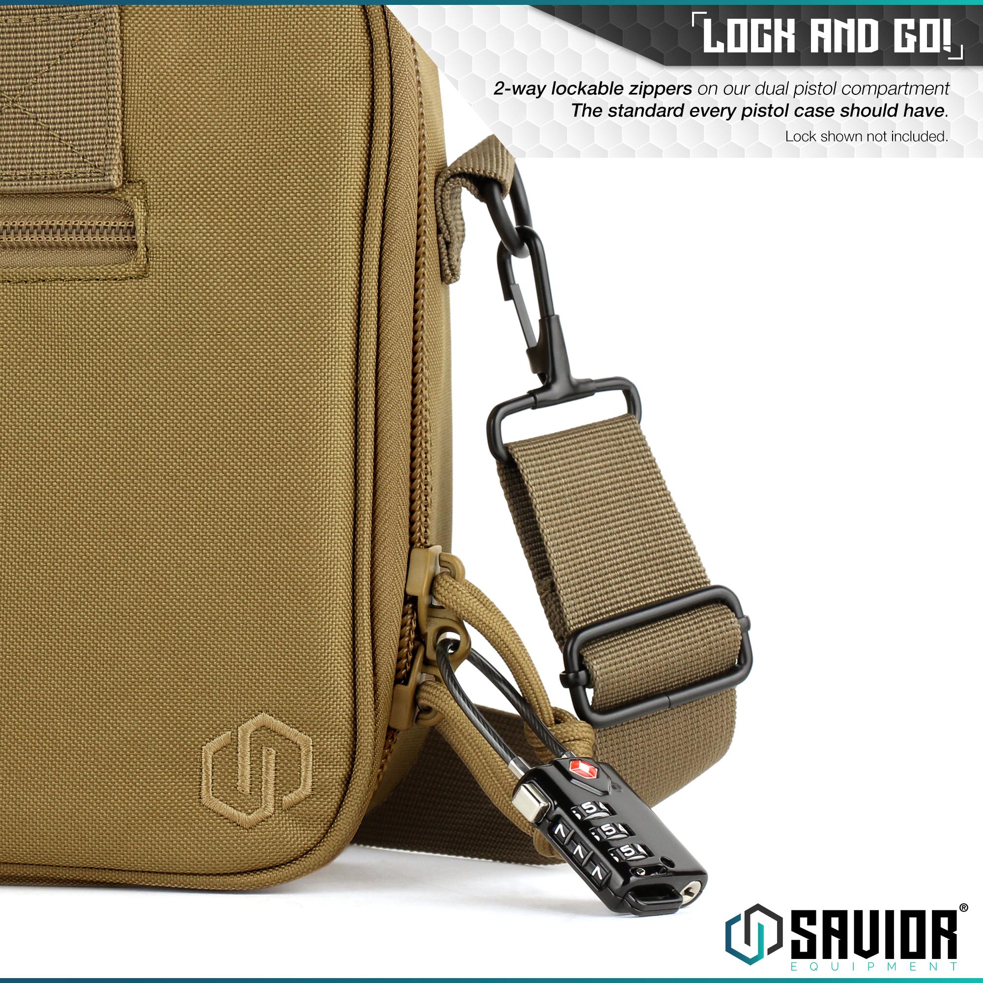 thumbnail 11 - 034-SAVIOR-034-Padded-Discreet-Double-Handgun-Bag-Pistol-Storage-Case-w-Mag-Pouch-Slot