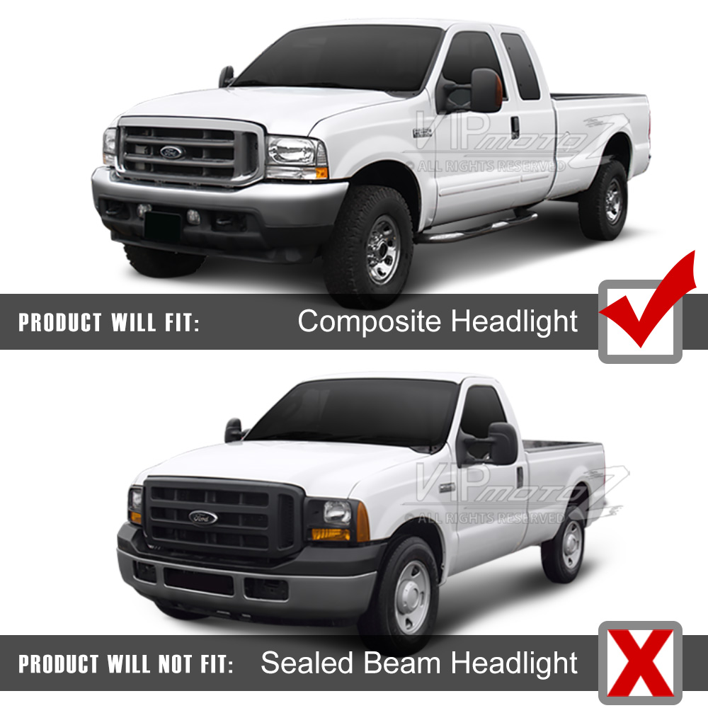 Full Conversion Kit 1999 2004 Ford F250 F350 Superduty Headlights F 250 Super Duty Mirror Cover Not Compatible With Model Sealed Beam Type Headlight