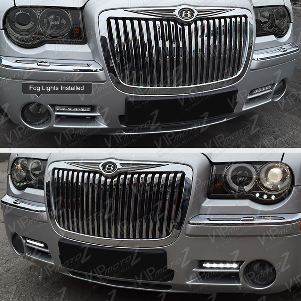 2005 2006 2007 Chrysler 300c Srt8 Clear Black Headlights: Clear Headlights Pair New Wiring L+R Foglamps 2005 2006