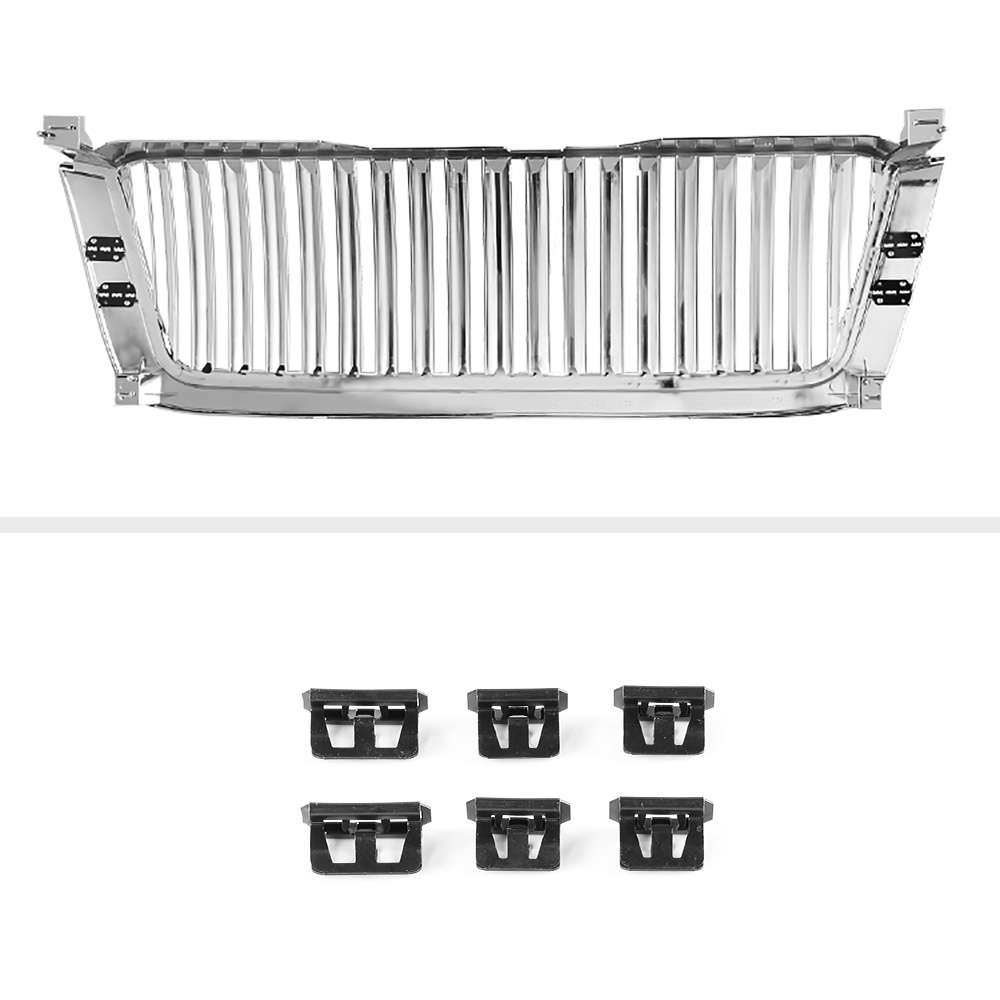 chrome vertical bumper grille assembly 03 04 05 06 chevy silverado 1500 2500 hd ebay. Black Bedroom Furniture Sets. Home Design Ideas