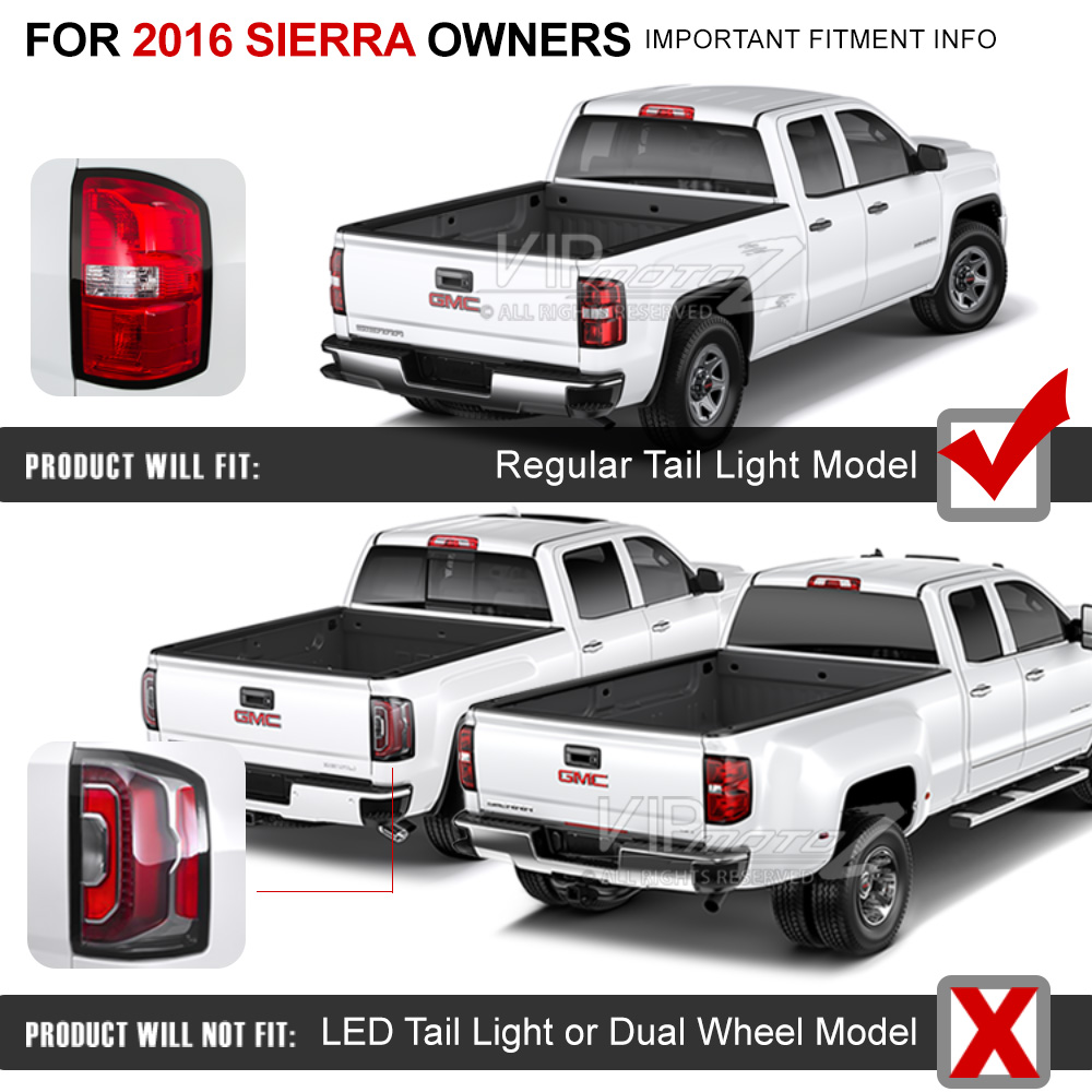 2016 2017 GMC Sierra 2500HD 3500HD Red LED Neon Tube Rear