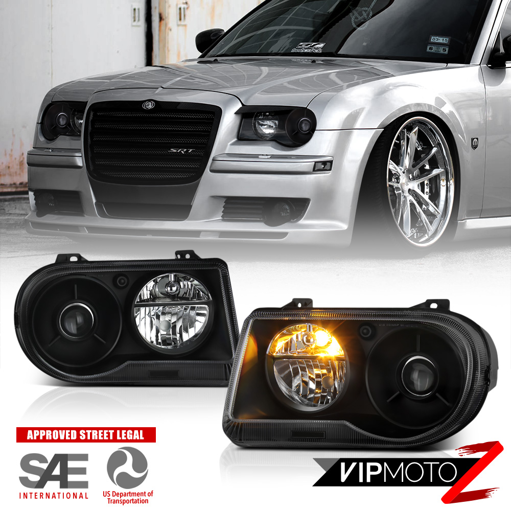 Chrysler 300 2006 Black Led Tail Lights: 2005 2006 2007 Chrysler 300C SRT8 Clear/Black Headlights