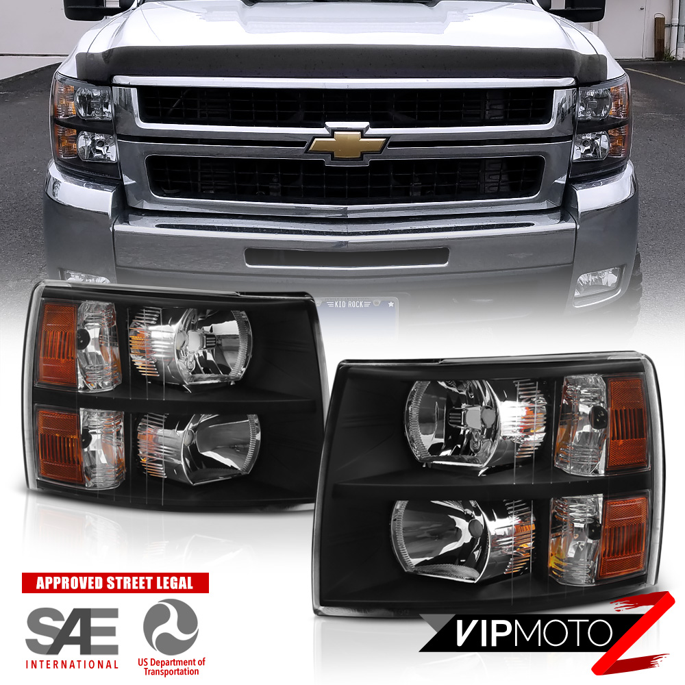 2007 2013 Chevy Silverado 1500 2500 3500 Black Hedlights