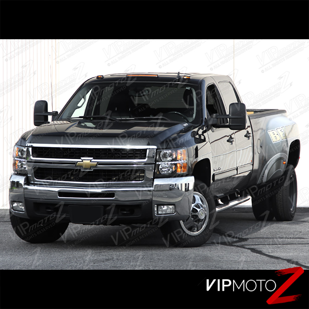 2007 2013 chevy silverado 1500 2500hd 3500hd built in led strip black headlights ebay. Black Bedroom Furniture Sets. Home Design Ideas