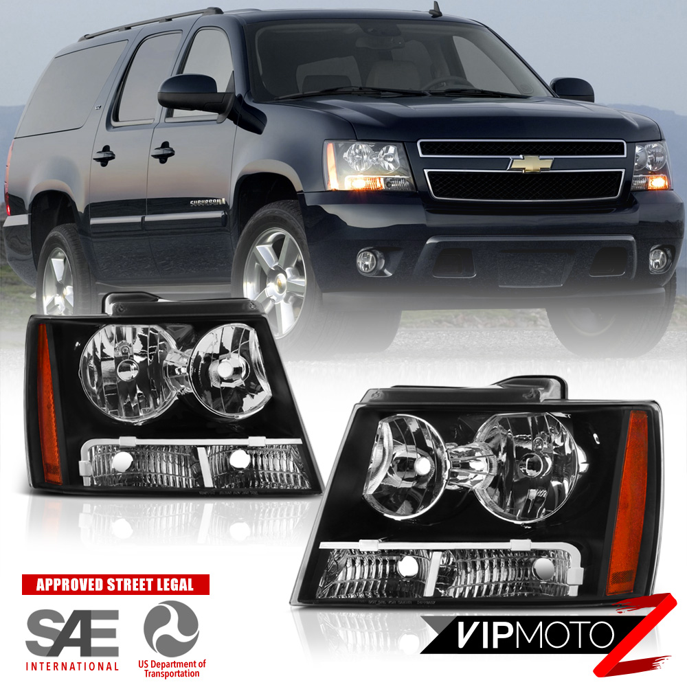 2007 2014 chevy suburban tahoe avalanche 1500 2500 black headlight headlamp pair ebay. Black Bedroom Furniture Sets. Home Design Ideas