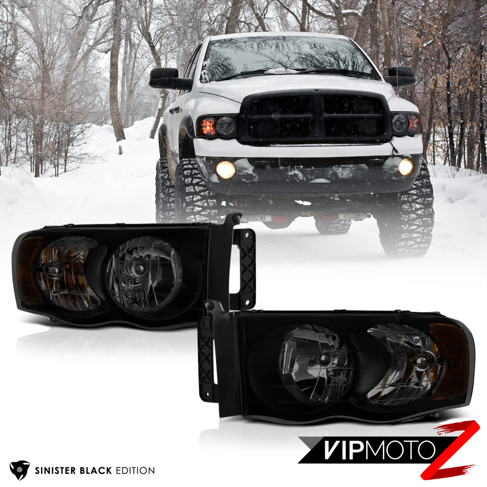 "2002-2005 Dodge Ram 1500 ""SINISTER BLACK"" Front Headlights"