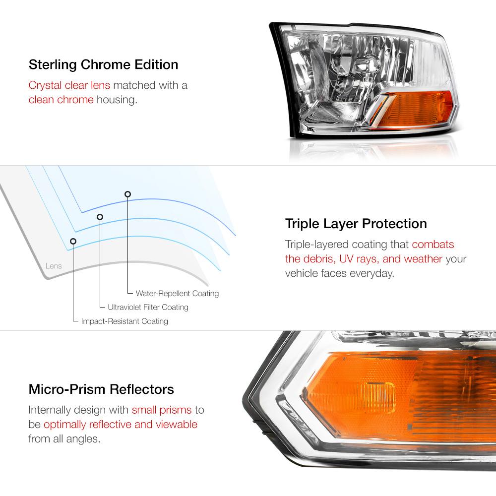 2009-2018 Dodge Ram 1500 2500 3500 Crystal Clear Headlights 2010 2011 2012 2013 7426547043042 | eBay