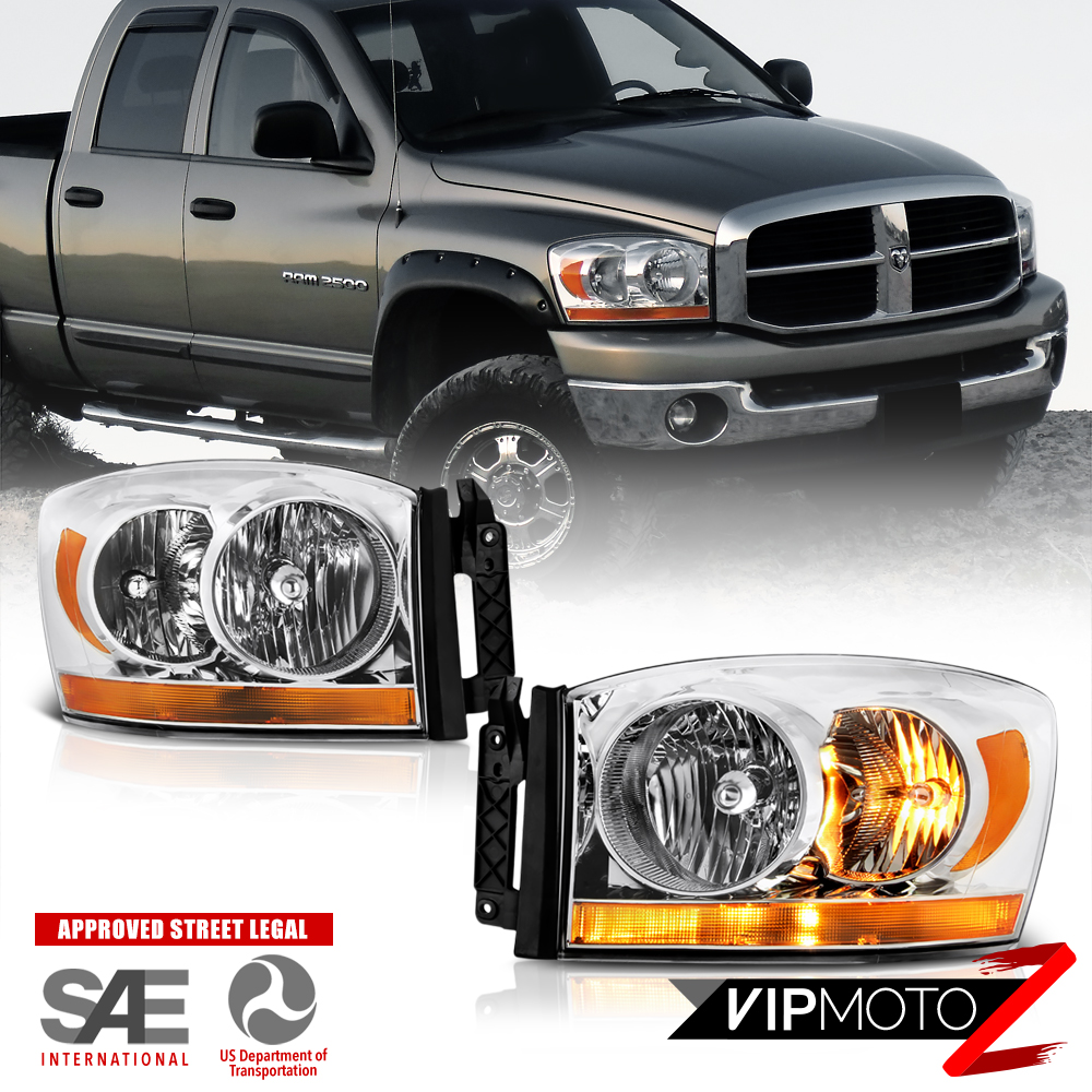"2006 Dodge Ram 1500 ""AMBER BAR MODEL"" Chrome Headlights"