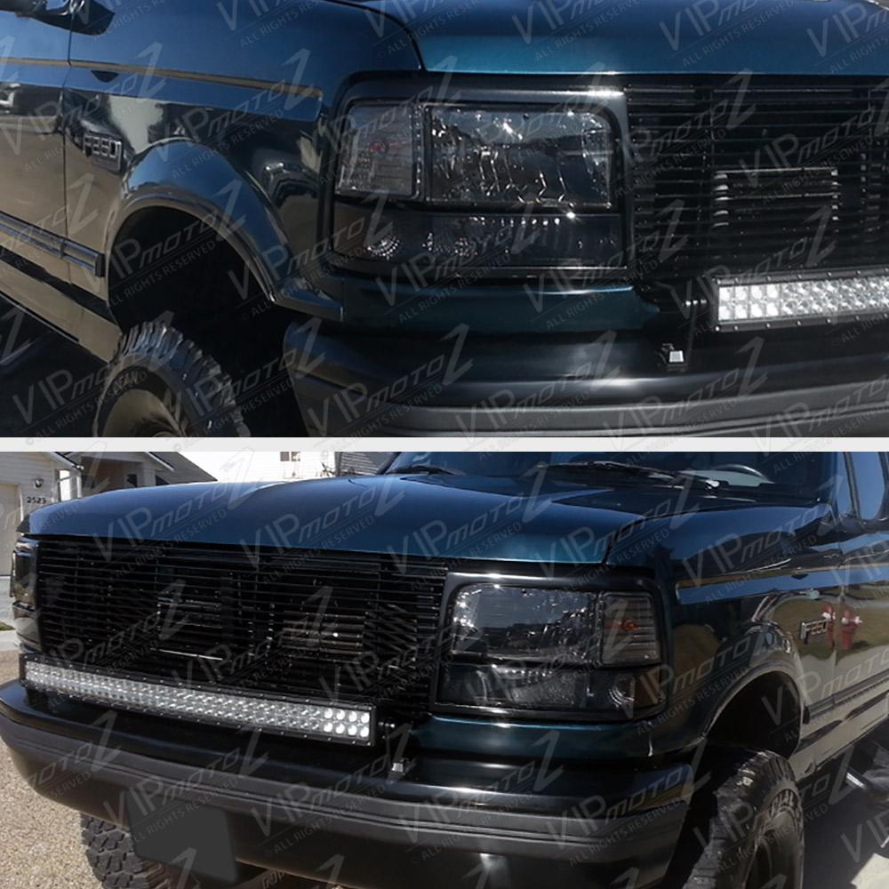 Smoked 1992 1996 Ford F150 F250 F350 Bronco Corner Bumper Signal Headlight Lamps Ebay