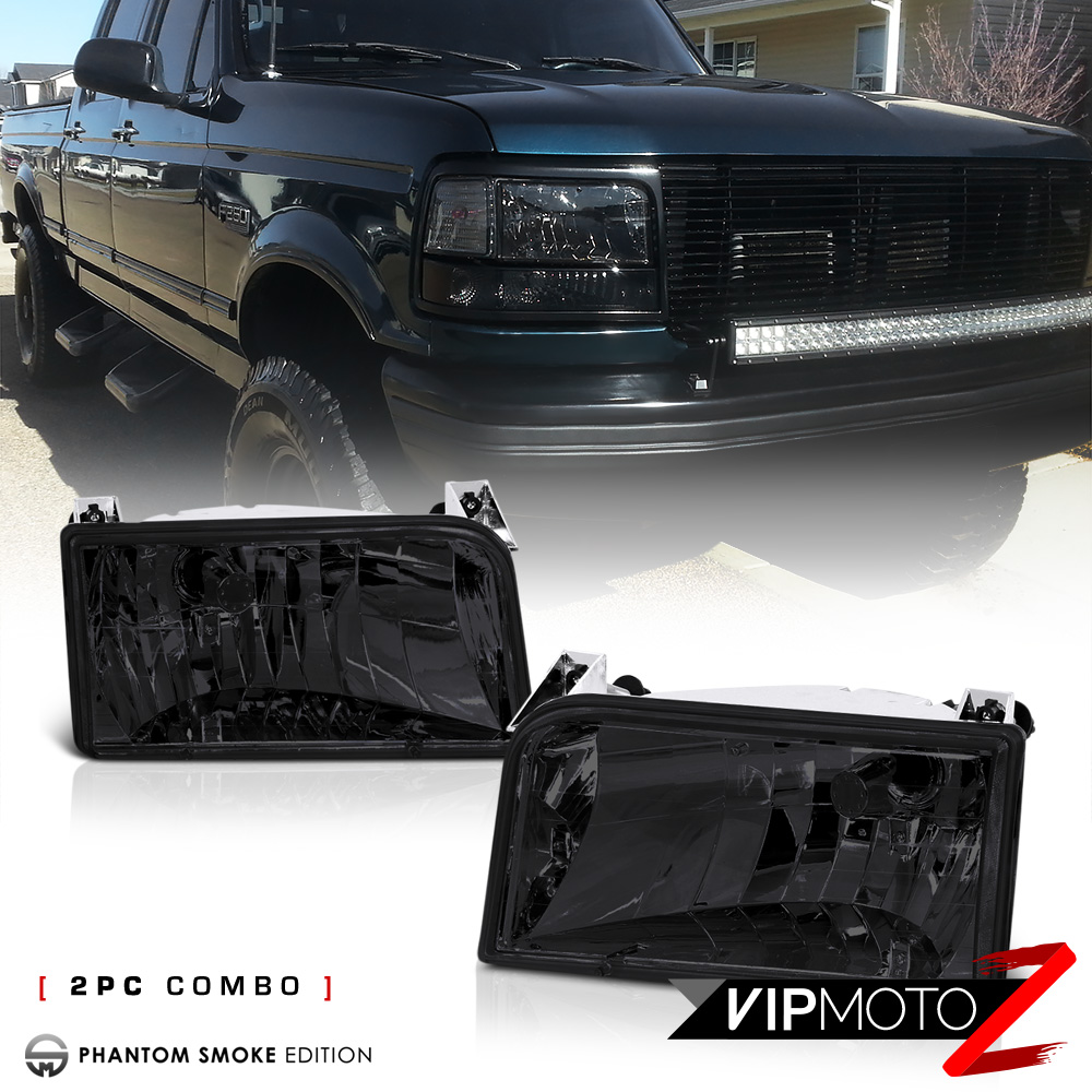 Venom Inc Headlights >> 1992-1996 Ford Bronco Eddie Bauers XLT F150 F250 F350 Smoke Headlights Headlamp | eBay