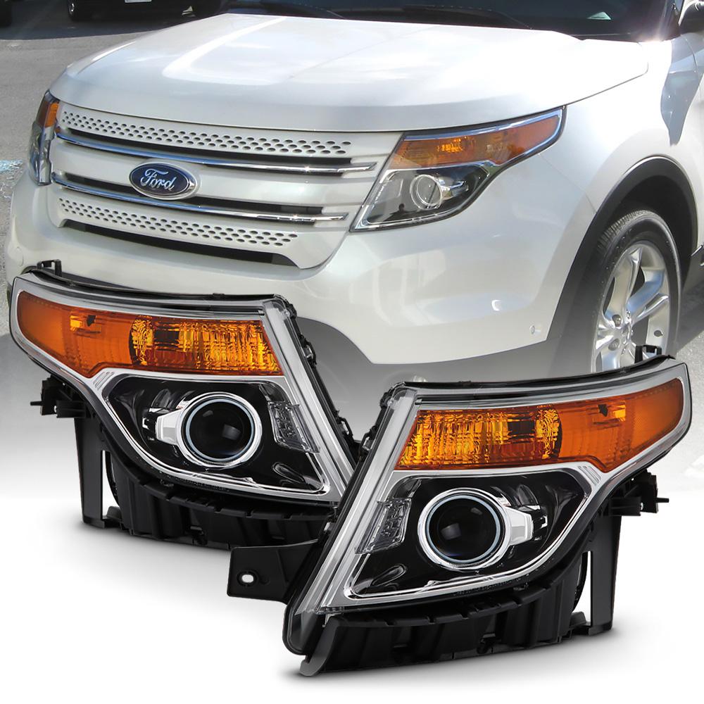 Black 2011-2015 Ford Explorer Halogen Projector Headlights Headlamps Left+Right