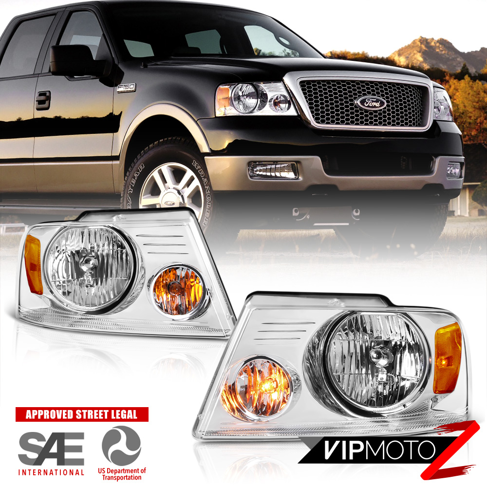 2004-2008 Ford F150 PickUp Truck Chrome Front Headlights