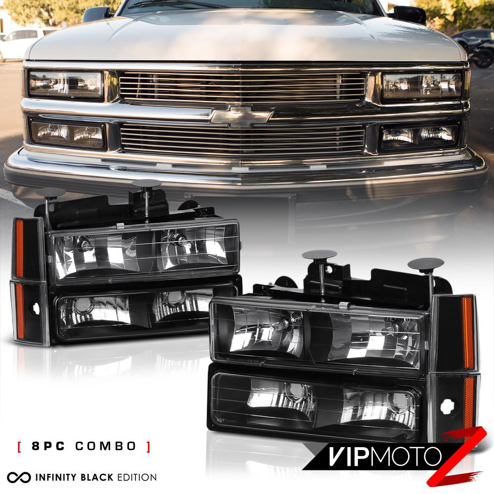 1992-1993 Chevy Blazer Suburban 1500 2500 Black Headlight